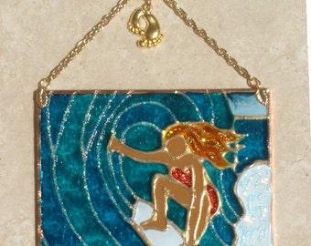 Surfer Girl Art Beach Stain Glass Panel Surfer Suncatcher Surfer Art Gift Suncatcher Surfer Ornament Surf Wall Decor Surfer Girl Decor Gift