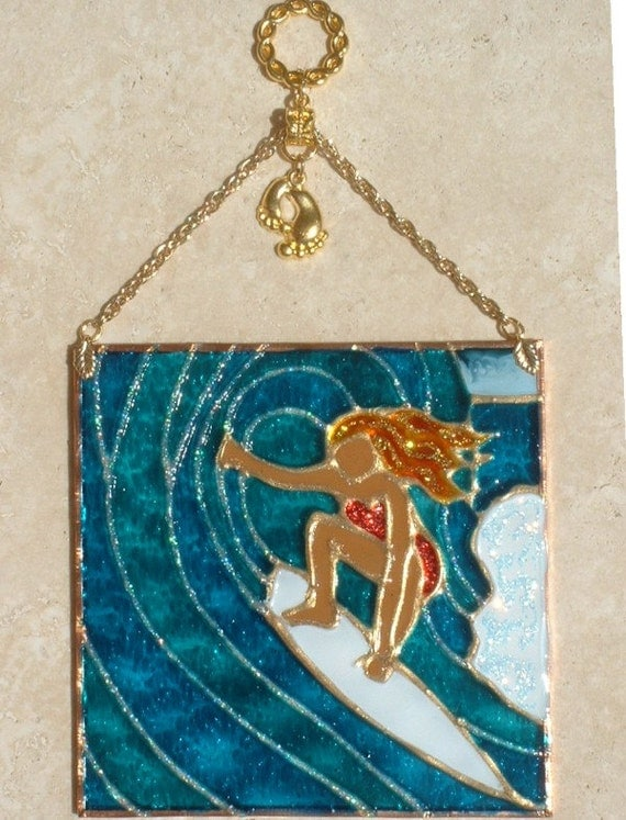 surfer girl suncatcher