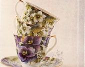 Teacup Photography - Teacup Art - Pansies - Purple - Vintage Inspired - Home Decor - Wall Art - Fine Art - Kitchen Decor - Tea Room Art