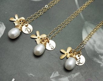 Orchid necklaces, SET of 3, Gold fill jewelry, Pearl necklaces, Bridesmaids gifts, White pearls, Orchid charm necklace