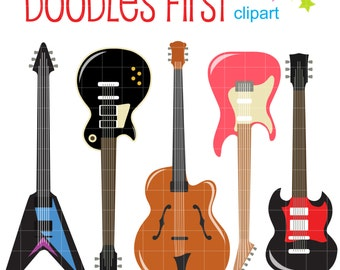 Electric Guitars Digital Clip Art for Scrapbooking Card Making Cupcake Toppers Paper Crafts