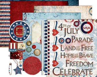 4th of July Digital Scrapbook - Patriotic Clipart - 1776 Independence Day Printable Papers - July 4th Kit - Instant Download