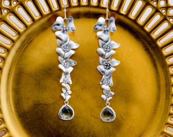 Five Flower Earrings with Charcoal Crystal Drop, Dangle Earrings, Wedding Jewelry, Graduation Gift, Bridesmaid Jewelry