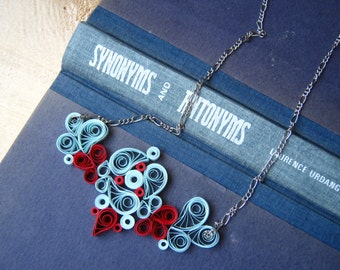 First Wedding Anniversary Gift Bib Necklace Paper Necklace in blue&red 1st anniversary gift blue necklace , Paper Jewelry Gift for wife