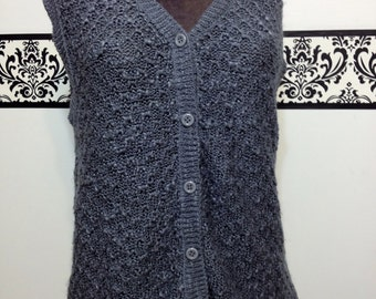 Pencil Lead Grey Sleeveless Knit Cardigan Vintage 80's does 50's by Joyce, Size Large