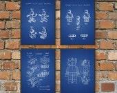 Lego Patent Prints - Wall Art Posters Set of 4 - Bedroom Art Prints - Playroom Posters