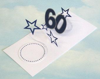60th Birthday Card Spiral Pop Up 3D - Blue Stars