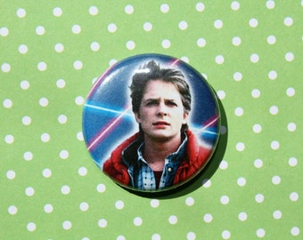 Back To The Future Marty McFly Michael J Fox- One Inch Pinback Button Magnet