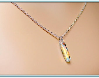 Bridesmaids Crystal Necklace, Brilliant Swarovski AB Crystal Column, STERLING SILVER, Rose Gold, or Gold Plated Necklace, Bridal Jewelry