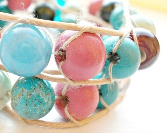 Beaded Wrap Bracelet | Pink Blue | Double Wrap Bracelet | Autumn Fall Jewelry