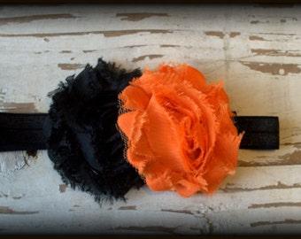 Black and Orange HALLOWEEN Headband on Black Elastic - Baby Headband - Toddler Headband - Adult Headband