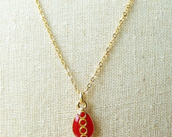 Tiny Teardrop Necklace, Red Teardrop Necklace, Red Resin Teardrop Necklace, Tiny Red Teardrop Necklace, Gold Chain Red Resin Jewelry For Her