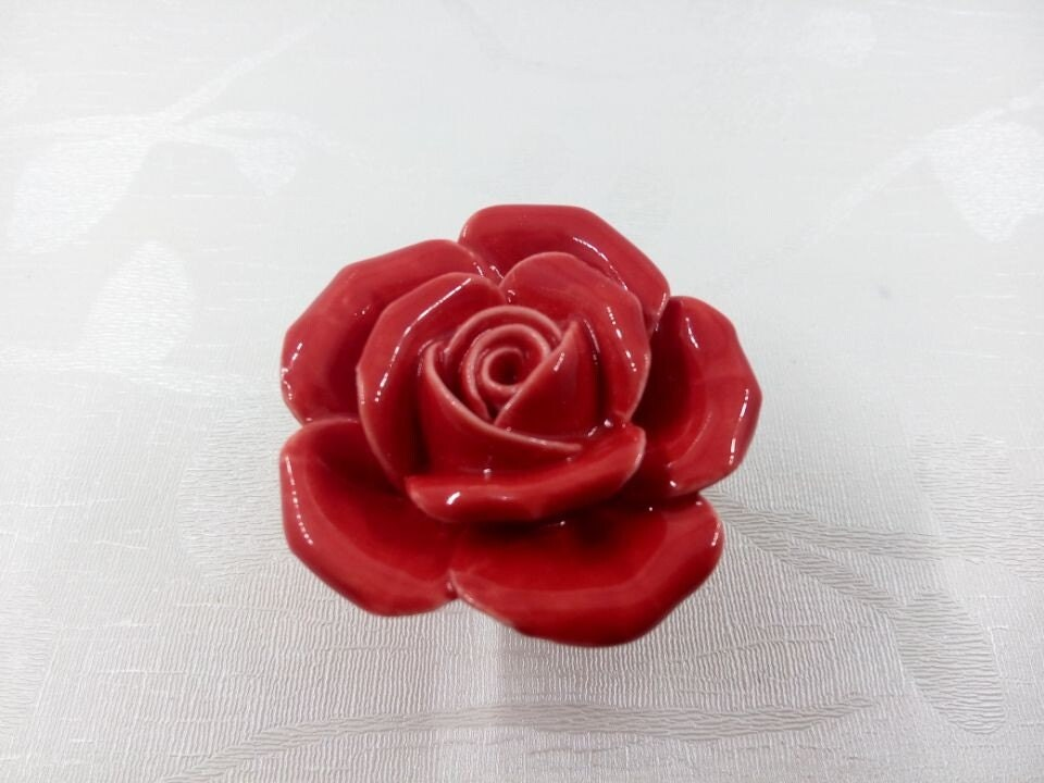 Red Rose Flower Knobs Ceramic Knobs Dresser Knobs Drawer