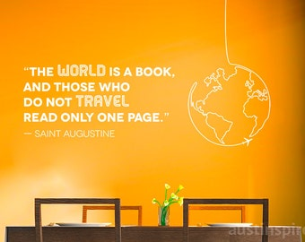 """Travel Quote: """"The World is a Book"""" Wall Decal (w/ Free Shipping!)"""