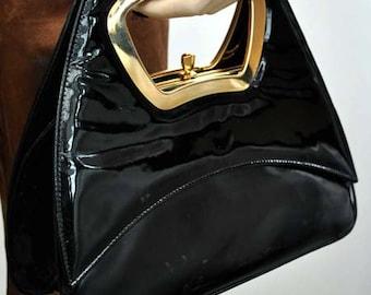 Vintage 1960s Interwainer Black Patent Handbag - 60s Mod