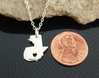 Tiny Sterling Silver Guatemala Necklace / Custom Heart / Small Guatemala Necklace / Love Guatemala / Country Necklace / Guatemala Wedding