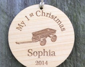 Baby's First Christmas Ornament:  Little Wagon/Personalized Baby Ornament/Engraved Wood Christmas Ornament/Baby's 1st Christmas
