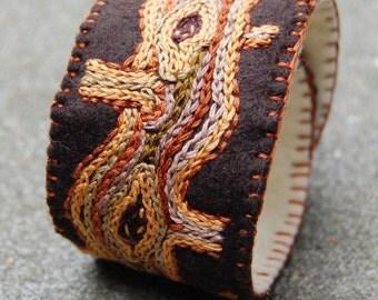 Brown embroidered felt bracelet / cuff