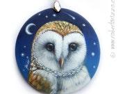 Barn Owl Pendant   Hand Painted Jewels