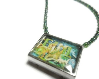 Super Nintendo video game box art pendant EVO Search for Eden pendant  with green beads  -  free size adjustments  -  video game jewelry