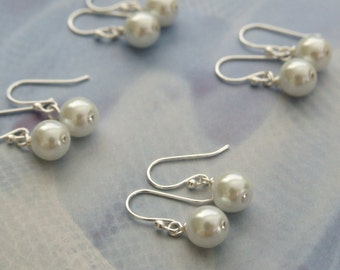 Bridesmaid Jewelry, Bridal party, Set of Simple Classic Pearl Earrings, Drop Earrings, Bridal Dangle Earrings, Bridesmaid Gifts