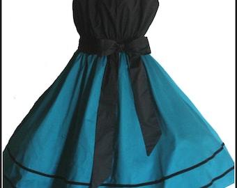 Teal Vintage Reproduction Swing Dress, Full Circle Skirt Ladies Plus Size 18 20 22 AU or 14  16  18US Rockabilly Pin UpWedding