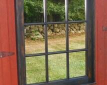 9 Pane Window mirror, Mirror frame, Distressed Mirror, Wall Mirror, Window Sash,  Home Decor, Wall Hang, window pane,  Mirror