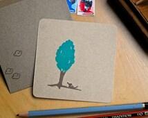 Kaart en envelop, hond, boom, note card with envelope, dog, tree, Postkarte mit Briefumschlag, hund, baum
