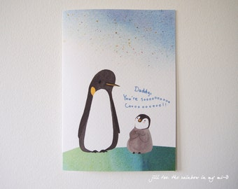 Father's day card, Fathers day card, penguin Daddy and baby , Love you Daddy, Daddy you are so cool