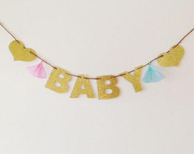 BABY Banner | Glitter Baby Shower Banner| Baby Glitter Banner | Baby Shower Decoration | It's a Girl, It's a Boy, Twins