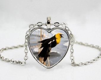 Yellow Headed Blackbird Pendant Necklace // Bird Pendant Necklace // Bird Jewelry