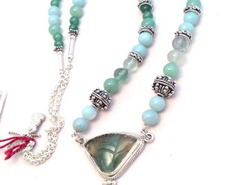 "30"" Long Aquamarine & Carved Fluorite Pendant Necklace. Green, Hinged, Sterling Silver, Jade, Amazonite,Handmade Chain. free US ship 289.00"