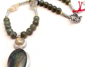 Lg. Labradorite, Rutilated Quartz Pendant Necklace. Sterling Silver, Hinged, 18in, Quartz, Brass,tiny Buddha amulet.. free US ship 249.00