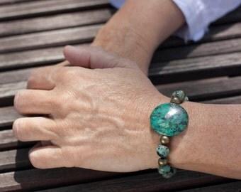 Bracelet turquoise African Boho, ethnic jewelry, Gypsy, African Chic turquoise bracelet, gemstone Stretch Bracelet