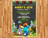 Minecraft BIRTHDAY Invitation- Printable Minecraft Inspired Birthday Invitation- Minecraft Birthday Party Invitation. Bumbles Design
