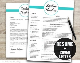 Resume Template Teal Design  - Cover Letter Template - Teacher Resume Template Instant Download