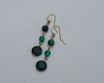 Turquoise and Green Crystal Dangle Drop Earrings