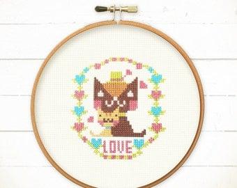 Cat cross stitch patterns - Happy Cats Together , easy cross stitch, xstitch patterns, cats embroidery pattern , cats needlepoint pattern