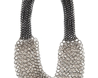 Statement chainmaille necklace, statement chain mail necklace, luxury chainmaille necklace, silver chain necklace