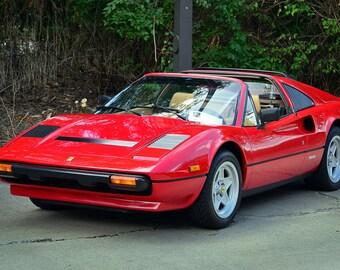 Ferrari 308 GTS Red Left Front HD Poster Super Car Print