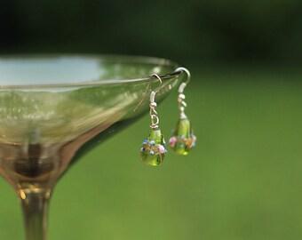 Green Glass Tear Drop Earrings