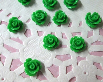 Grass green 10mm rose cabochons, cute green flower cabs
