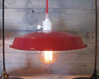 Red Vinyl Record Pendant Light - Reused Plastic Industrial Ceiling Lamp