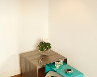 Painted steel table, table nest, table design made in Spain