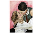 "Portrait of Victorian Lovers ""Kiss Me, Kiss Me"" Limited Edition Print Kissing Lovers Engagements Weddings FREE US Shipping and Insurance"