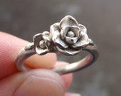 White Gold Magnolia Ring (Sizes 6.75 to 7) | Hand-Sculpted, Cast, Solid 14K White Gold | SAMPLE SALE | Wedding | Engagement
