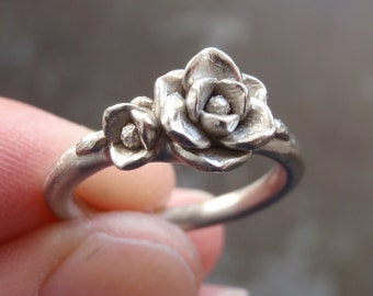White Gold Magnolia Ring (Sizes 6.75 to 7) | SAMPLE SALE | Hand-Sculpted, Cast, Solid 14K White Gold | Wedding | Engagement