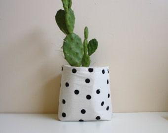 Magazine Storage / Succulent Planter / Polka Dot / Fabric Storage Basket / Nursery Storage / Gift Container / Baby Shower