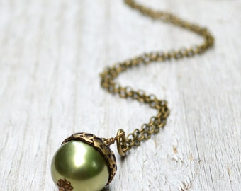 Pearl Acorn Necklace -  Swarovski Crystal Pearl, Antiqued Brass Chain, Light Green, Woodland