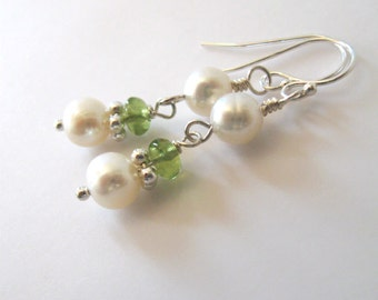 Peridot Gemstone Pearl Earrings Sterling Silver, Freshwater Pearls, August Birthday